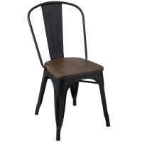Cadeira Iron Tolix Madeira Fosca